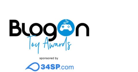 BlogOn Logo with gaming controller in the O with Toy Awards sponsored by and the 34SP.com logo underneath