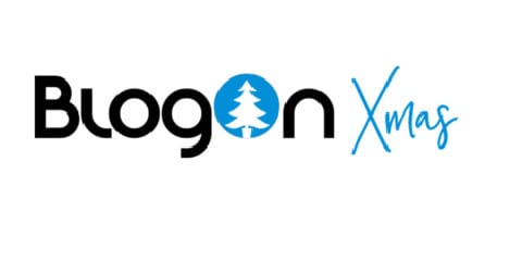 BlogOn logo with christmas tree cut out in the O with Xmas written afterwards